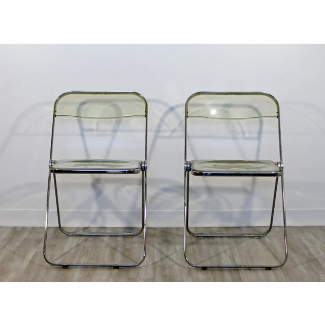 1960s Vintage Castelli Mid Century Modern Lucite Chrome Folding Side Chairs - Set of 4 For Sale In Detroit - Image 6 of 12