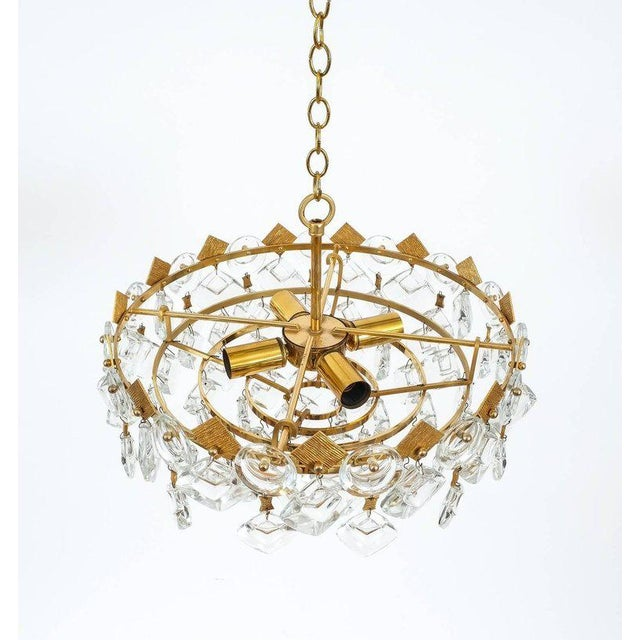 Palwa Petite Gilded Brass and Glass Chandelier Lamp by Palwa, 1970 For Sale - Image 4 of 8