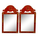 Image of Pair of Hand Painted Chinoiserie Mirrors For Sale