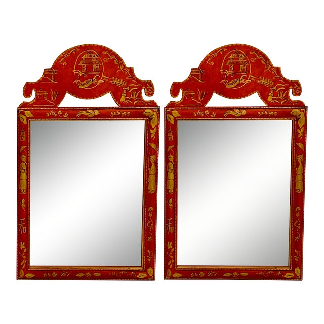 Pair of Hand Painted Chinoiserie Mirrors For Sale