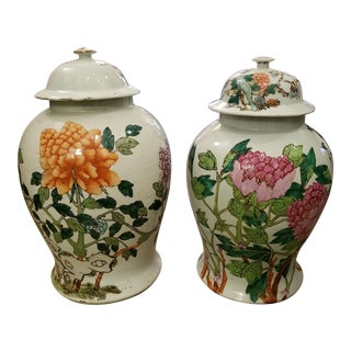 Qing Dynasty Lidded Ginger Jars - a Pair For Sale