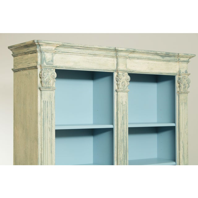 White Italian Custom Faux Blue Painted Architectural Bookcase For Sale - Image 8 of 13