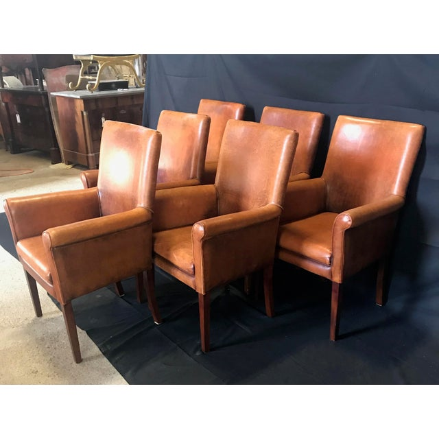 Traditional French Vintage Leather Armchairs -Set of 6 For Sale - Image 3 of 13