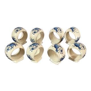 Vintage Blue Onion Pedestal Base Napkin Rings - Set of 8 For Sale