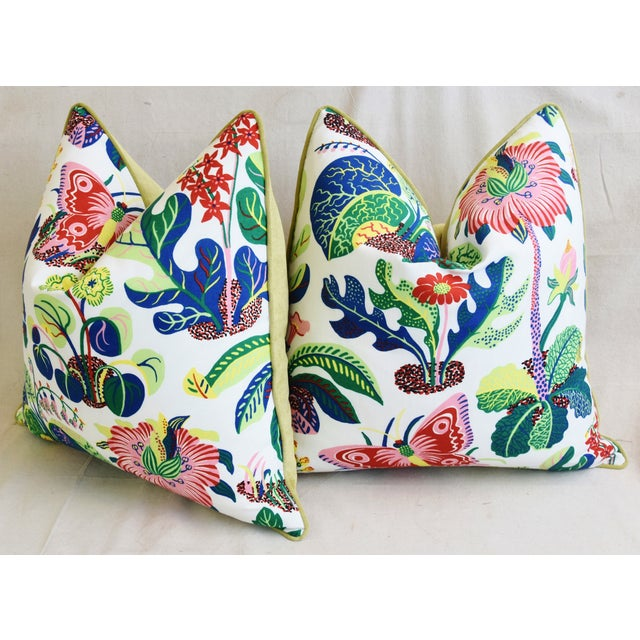 """Schumacher Exotic Butterfly Floral Feather/Down Pillows 24"""" Square - Pair For Sale - Image 9 of 13"""