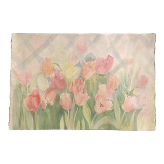 Original Vintage Watercolor Still Life Painting Tulips For Sale