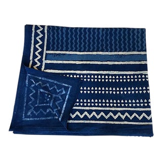 Indian Indigo Hand-Dyed Shibori Throw For Sale