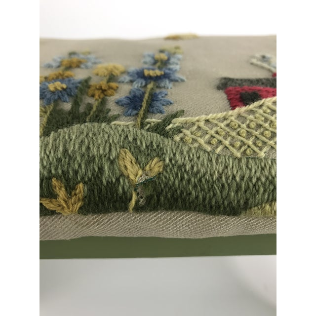 1970s Vintage Handmade Embroidered Foot Stool For Sale - Image 11 of 13
