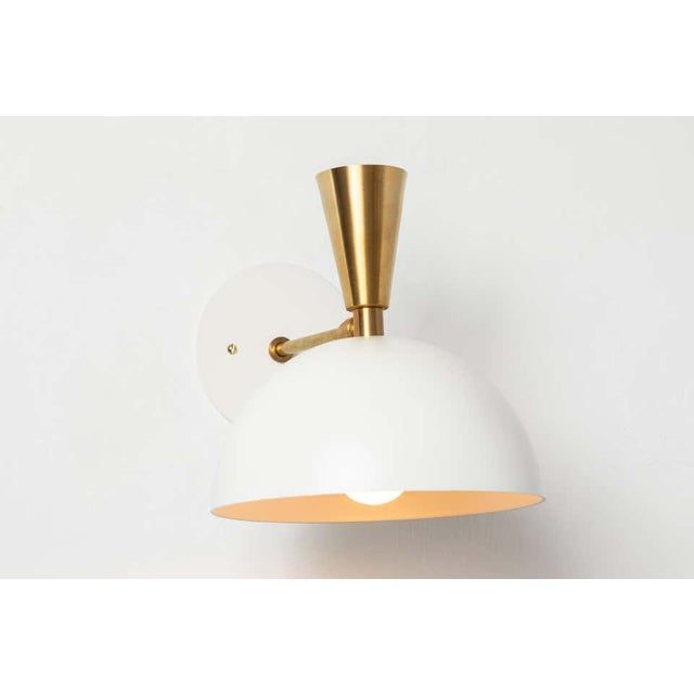 White 'Lola Ii' Sconces in White Metal and Brass - a Pair For Sale - Image 8 of 13