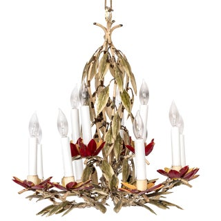 Pair of Painted Red Tole Chandeliers in Leaf Motif For Sale