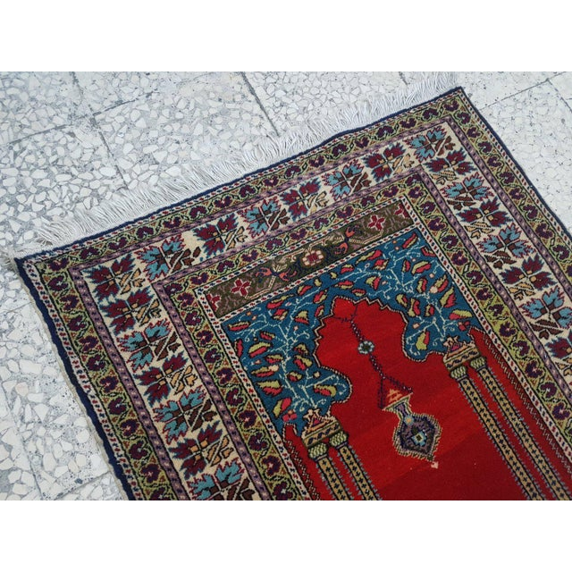 Islamic 1980s Traditional Oriental Handmade Prayer Carpet, Double Knotted Small Sized Pile Rug, Wall Hanging Floor Covering Rugs, 3' X 4'7'' / 92x139cm For Sale - Image 3 of 6
