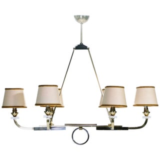 Jacques Adnet Brass and Gunmetal Chandelier, 1950s For Sale