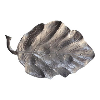 An Overscaled Solid Aluminum Naturalistic Leaf Platter C. 1990s For Sale