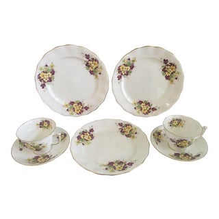 1950s Purple and Yellow Floral Bone China by Old Royal - Set of 7 For Sale