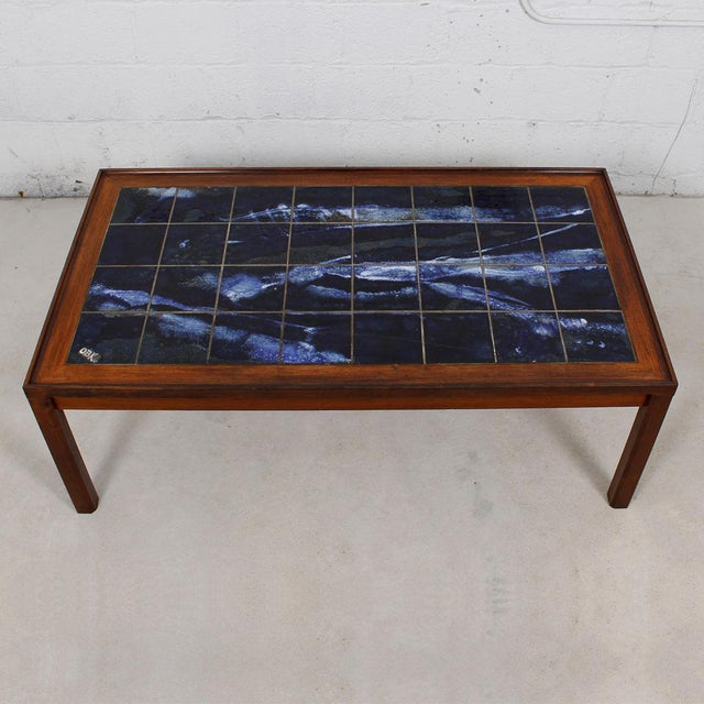 Danish Modern Large Danish Modern Coffee Table in Rosewood with White & Blue Tile Top For Sale - Image 3 of 6