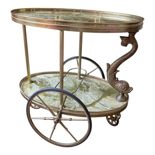 Vintage Brass Dolphin Fish Rolling Cart Trolley For Sale