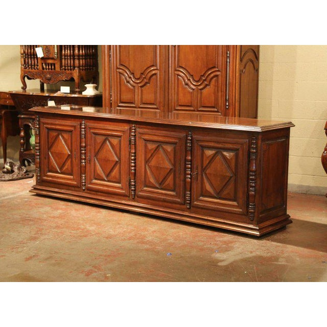 Early 19th Century French Louis XIII Carved Walnut Four-Door Enfilade Buffet For Sale - Image 12 of 13