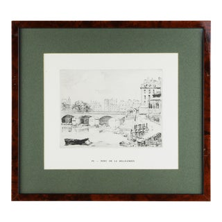 """1935 """"Pont De La Belle Croix"""" Engraving by Brient, Framed For Sale"""