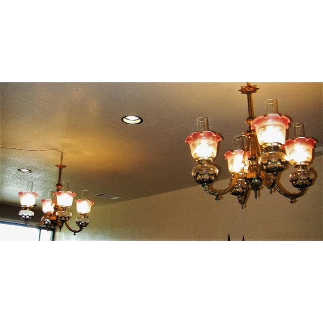 19c Pair of Bradley and Hubbard Gold Leaf 4 Arm Chandeliers For Sale - Image 9 of 13