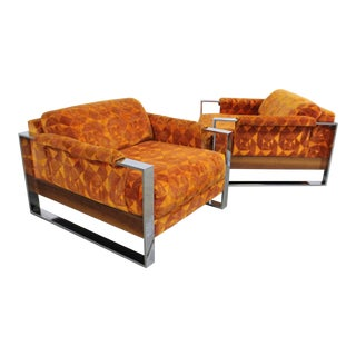 Pair of Mid-Century Modern Adrian Pearsall Craft Associates Chrome Lounge Chairs For Sale