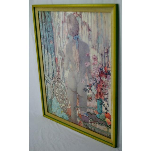 "Vintage Framed Alexander Sharpe Ross Print of Watercolor Titled ""Blue Ribbon"" - Rare For Sale - Image 4 of 11"