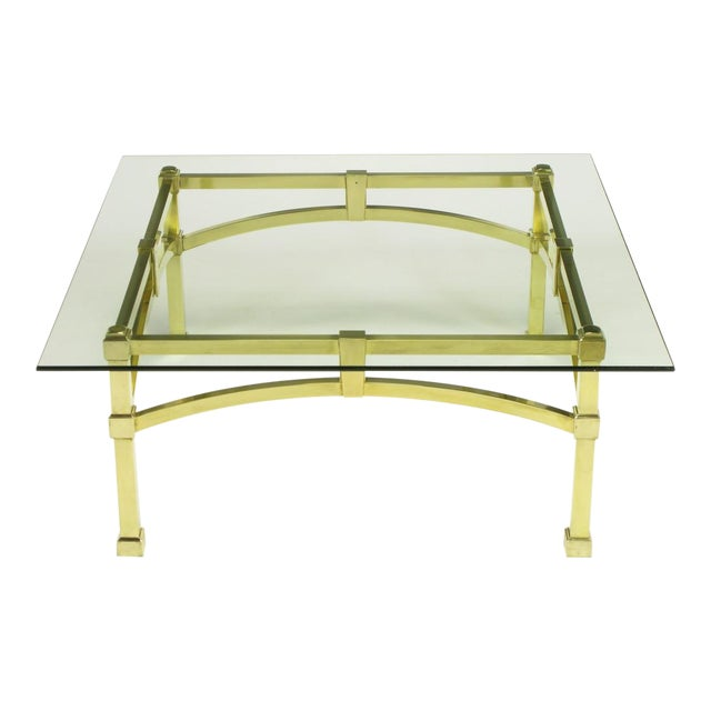 Italian Postmodern Architectural Brass & Glass Coffee Table - Image 1 of 10