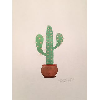 Contemporary Lonely Cactus Watercolor Painting For Sale