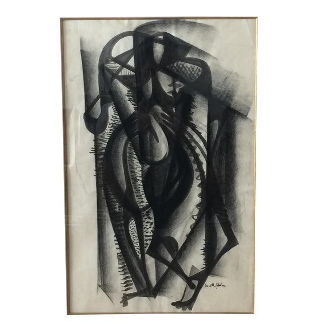 Framed Cubist Charcoal Painting - Image 2 of 8