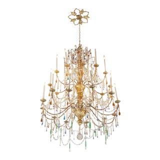 Large Venetian Crystal and Gilt Metal and Wood Chandelier For Sale