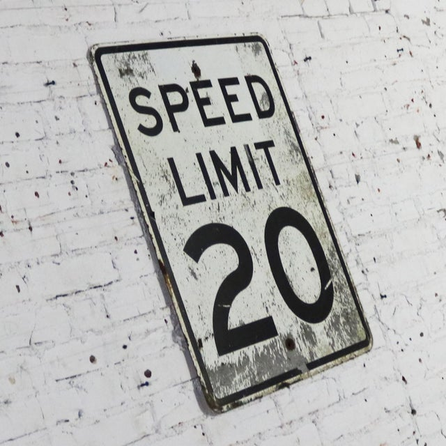Americana Vintage Speed Limit 20 Large Steel Traffic Sign For Sale - Image 3 of 13
