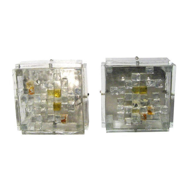 Poliarte Cut Glass Wall Lights - A Pair For Sale