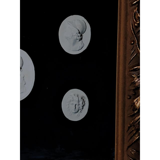 Grand Tour Antique Italian Grand Tour Plaster Cameo and Intaglio Arrangement, Framed For Sale - Image 3 of 12