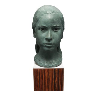 Mid-Century Modern Sculpture Bust of a Young Girl For Sale