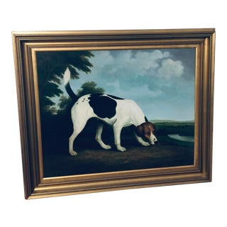 Vintage Large Shipley Canine Painting in Gilt Frame For Sale