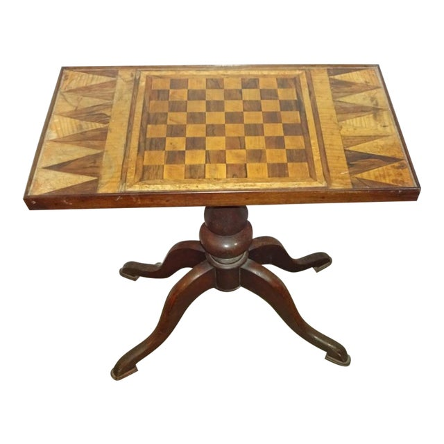 19th-C. Parquet Game Table - Image 1 of 4