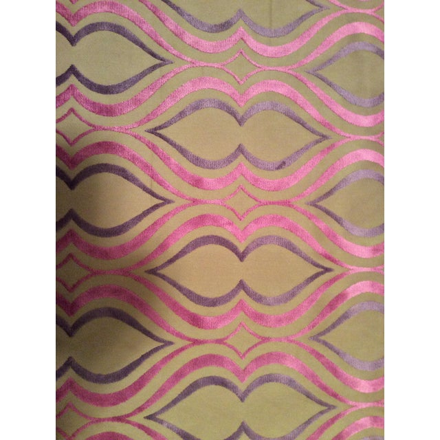 Designers Guild Tan, Pink & Purple Cut Velvet Fabric- 3 Yards - Image 1 of 5