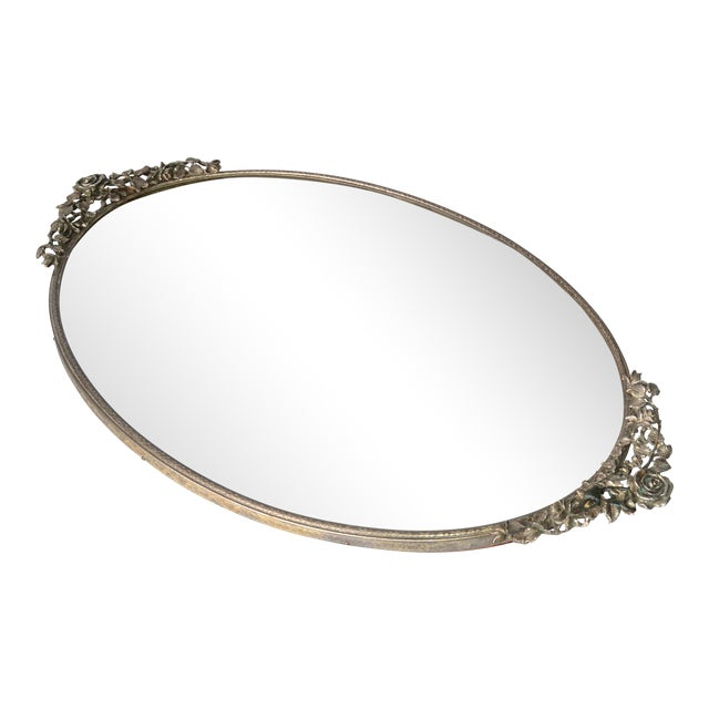 Art Deco Pewter Mirrored Tray - Image 1 of 9