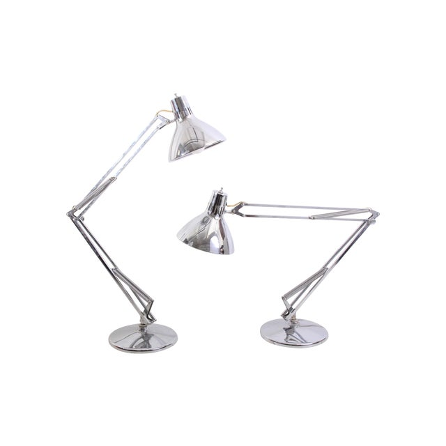 Large Vintage Industrial Chrome Task Lamps - Pair - Image 1 of 6