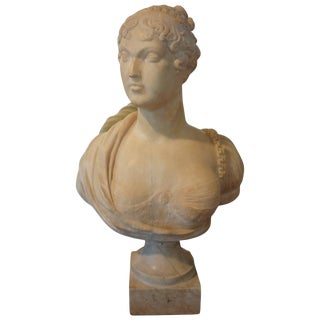 19th Century Antique Italian Classical Alabaster Bust For Sale