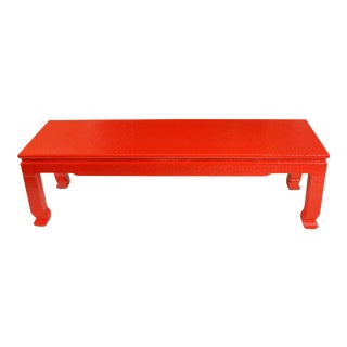 Vintage Asian Red Grasscloth Coffee Table For Sale