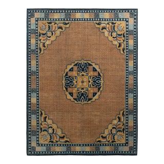 Rug & Kilim's Classic Kangxia Style Rug in Brown and Blue Medallion Pattern