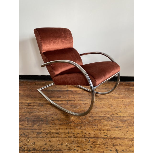 Cinnamon Mid Century Chrome Rocking Chair in Rust Velvet For Sale - Image 8 of 8