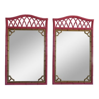 Pink & Gold Faux Bamboo Mirrors - a Pair