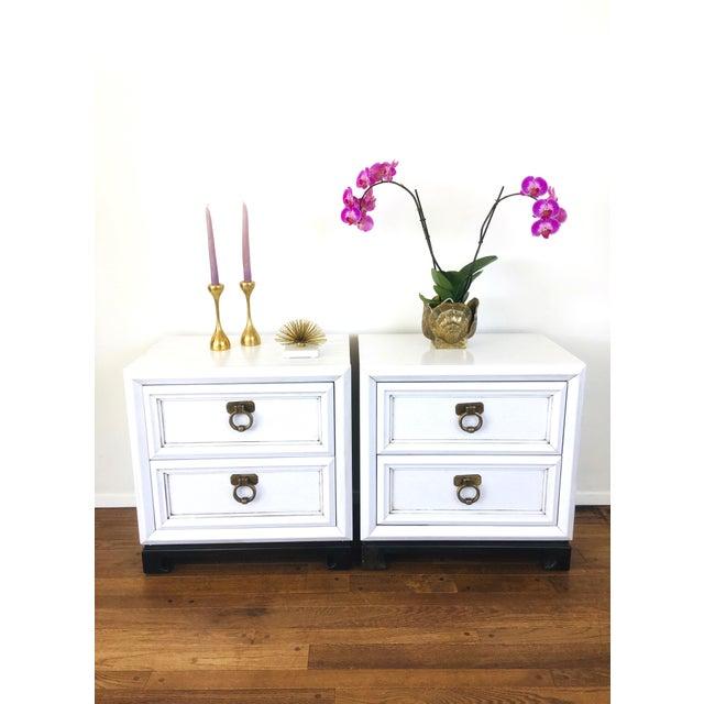 Pair of Vintage Hollywood Regency Style Side Tables - 2 drawers with big brass tone metal door knocker pulls - white...