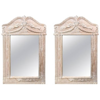 Pair of Pretty French Style Bleached Pine Mirrors For Sale