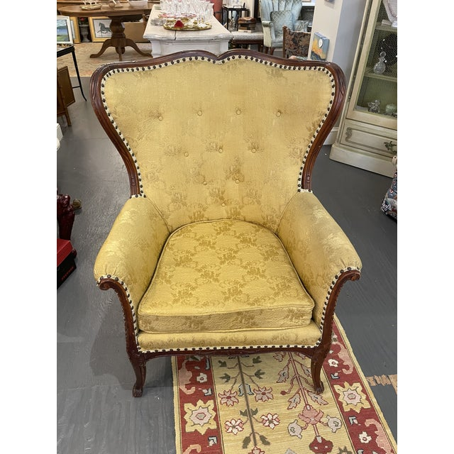 Wood 1950s Vintage French Wingback Mahogany Chair For Sale - Image 7 of 7