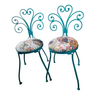 Mid Century Vintage Italin Iron Patio Chairs - a Pair For Sale