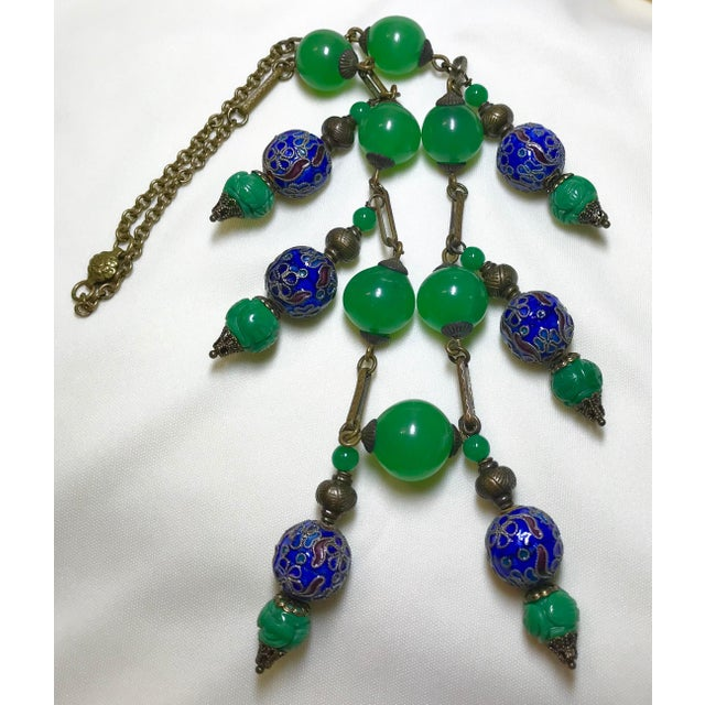 Vintage Green Glass Bead, Cloisonne and Brass Chain Necklace For Sale - Image 4 of 5