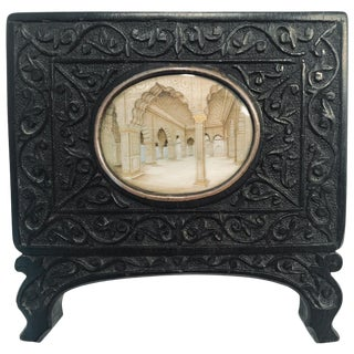 Indian Miniature Perspective Painting in Ebony Frame For Sale