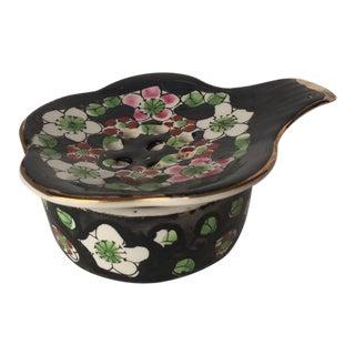 Vintage Elegant Floral Porcelain Tea Strainer & Holder - 2 Pc.